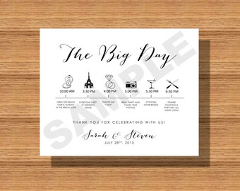 Printable Wedding Day Itinerary Card, Wedding Day Timeline for- The Wedding Bridal Party, Vendors Etc.