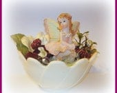 Fairy Garden Mini Fairy Figurine Peach & Burgundy Personal Size Home Decor Table Decor Paperweight Handcrafted
