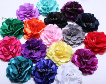 2 Pcs Silky satin mesh flowers 3Inch-Fabric flowers-wholesale silk flower-Wholesale DIY Supplies-Headband Flower-Applique-Hair Accessories