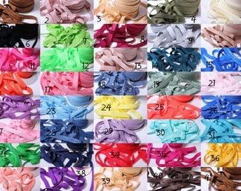5/8 Choose Your Colors  Foldover Elastic DIY headband Elastic Hair Tie Fold over-Elastic by yard -Stretchy High quality Elastic