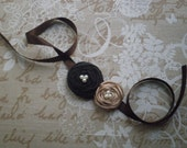 Ribbon bracelet -  Brown and beige ribbon bracelet with flowers