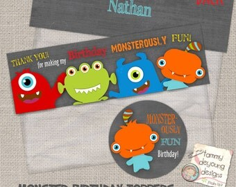 Monster Birthday Treat Bag Toppers* Birthday Tags *DIY Printable Party Favors*  2.5 inch circle labels, personalization available