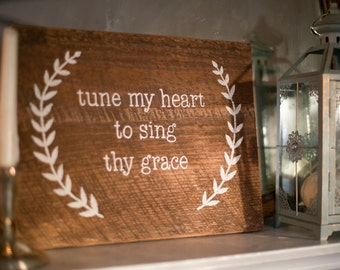 "Rustic ""Come Thou Fount of Every Blessing"" Wall Hanging - (version 2)"