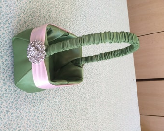 Clover Green with Baby Pink Satin  Flower Girl Basket and Rhinestone Accent