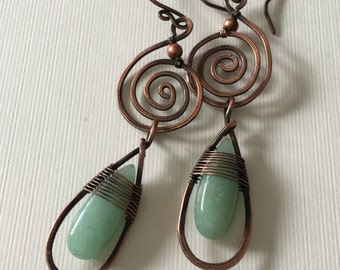 Copper spiral earrings  with long green aventurine beads