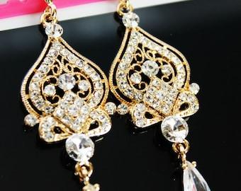 Gold Bridal Crystal Drop Earrings, Crystal Drop Wedding Earrings, Chandelier Gold Crystal Drop Earrings, Bridesmaid Crystal Drop Earrings