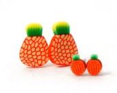 Orange Pineapple Earrings - Fruit Earrings - 4mm / 10mm