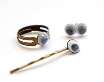 SALE Cute Goggling Eyes Gag Gift - Ring Size Adjustable - Hair Pin - Earrings