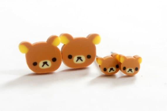 Miniature Teddy Bear Post Earrings 5mm 10mm