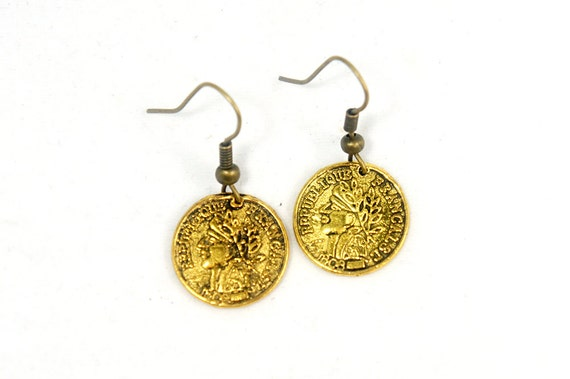 Vintage Style Ancient Coins Dangle Earrings - Coin Earrings - UC004
