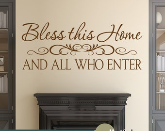 Bless This Home Wall Decal  Vinyl Wall Art Decal - Living Room Entryway Decor - WD0372
