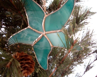 Stained glass large starfish suncatcher, holiday tree, beach, package ornament
