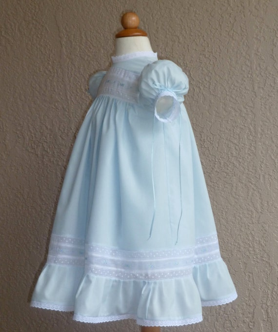 0266a2ee9 Girls Blue And White Heirloom Dress And Slip By