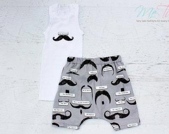 Boys Harem Shorts and singlet set Mustache Print