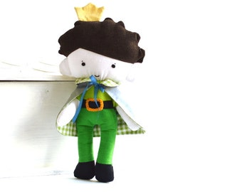 Prince rag doll King rag doll with reversible cape capelet Crown Stuffed toy Stuffed doll Plushie Softie Green Yellow 9.8 inch 25 cm