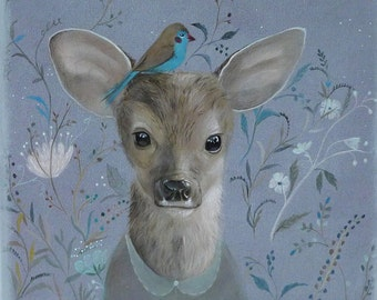 Whimsical Deer Art - Print from Acrylic Painting - Animal Art, Woodland Art, Nature Art - Deer Painting - Kids Children -animal illustration
