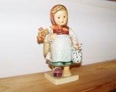 "Vintage MI Hummel ""Weary Wanderer"" Girl with Basket Flowers and Poke Goebel 1979 Collectible Figures Figurines Porcelain"
