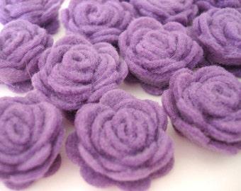 Set of 20 pcs - handmade MINI Felt Rose Flower - lavender (MRO)