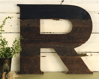 Rustic Wooden Letter 18 Inch Reclaimed Wood Large Wooden Letter Wall Letter Shabby Chic Barn Wood