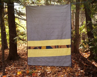Linen Throw Quilt- Gray with Yellow Panels and Contrasting Patchwork Stripe