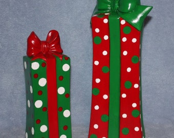 Handpainted ceramic Christmas Presents covered in polka dots and green and red bows