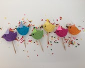 Birthday Party Cupcake Picks - Flock of 6! Birthday Party Decor - Cupcake Pics! Made to order!