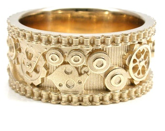 Steampunk Gold Gear Ring with Bike Chain Sides - Industrial Engagement Band