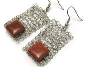 Geometric sand desert- crochet earrings, crochet rectangles, lightweight earrings, geometric jewelry