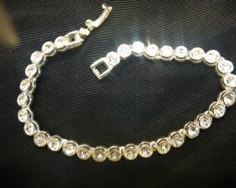 Vintage SINGLE STRAND Faux Diamond BRACELET