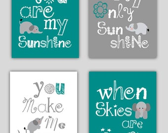 Elephant Art for Kids // Teal Nursery Decor // You Are My Sunshine Art // Teal and Gray Art Prints // Teal Art // 4-8x10 PRINTS ONLY