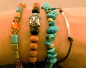 Buddha Bracelet Stack: Set of Stackable Bracelets, Relaxation, Yoga, Meditation, Buddha, Stone Chip, Adjustable, Friendship Bracelets