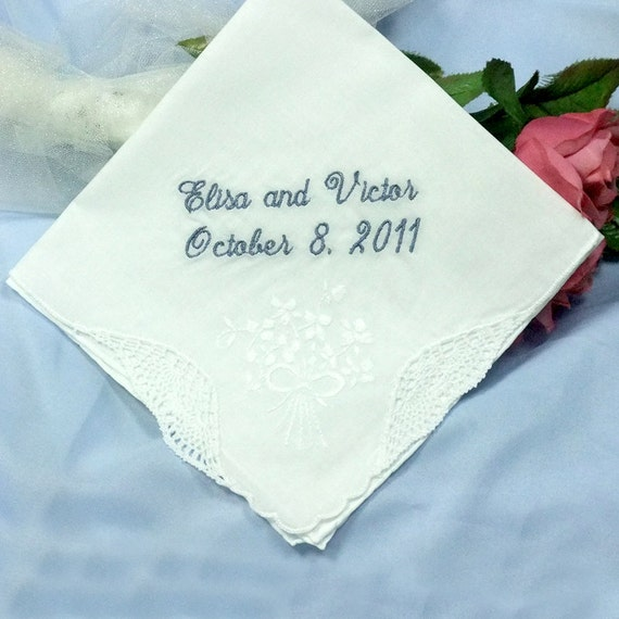 Personalized Wedding Gift - Wedding Handkerchief for the Bride Style H066