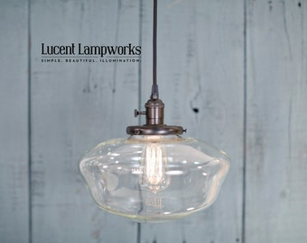 "Lighting With Large 12"" Clear Schoolhouse Glass Shade and Exposed Socket Design"