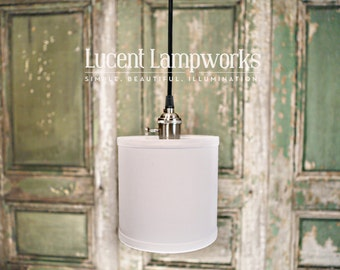 "Pendant Lighting With 6"" Diameter White Linen Fabric Drum Shade"