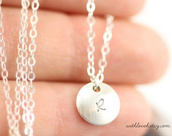 Tiny Initial Necklace in Sterling Silver - Buy more that one and layer them