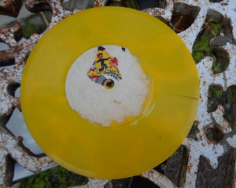 Vintage Yellow 45rpm Record Golden Records Repurpose Reuse 1950s Vinyl Crafting Upcycling Cheap