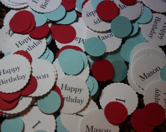 Personalize Confetti 300 CT/ Birthday/Baby Shower/Wedding/ It's a Boy/ It's a girl / Little Man/ Happy Birthday/ Name / Age /CHOOSE COLORS