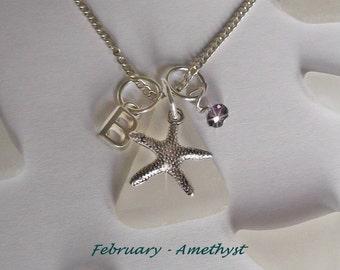 Amethyst necklace - February Birthday Necklace - Birthstone Jewelry - Personalized Monogram Sea glass Necklace - Beach glass jewelry