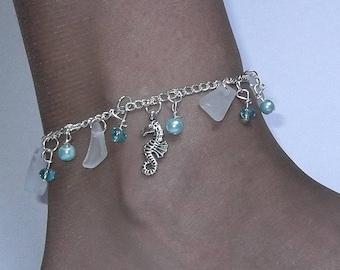 Sea glass anklet - seahorse anklet - Sterling anklet - beach glass jewelry -beach glass anklet.