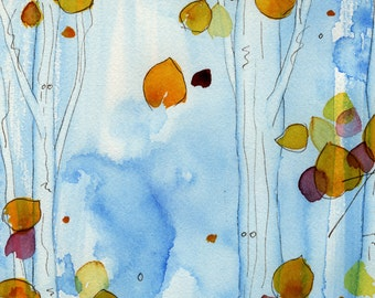 Watercolor Aspen Grove Print, Original Watercolor Landscape Print,  Large Tree Art,  Autumn Aspens Print