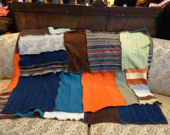 Patchwork Afghan, Upcycled Throw,Shabby Chic Blanket,by Nine Muses Of Crete