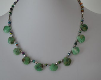 Gemstone Tear Drop Necklace, Green Gemstone Necklace, Apple green Chrysoprase Teardrops necklace
