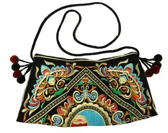 Hmong Ethnic Bag, Embroidered Purse, Thai Hill Tribe Bag, Boho Hobo Swingpack, Tribal Handbags, Black Bag HMSP9