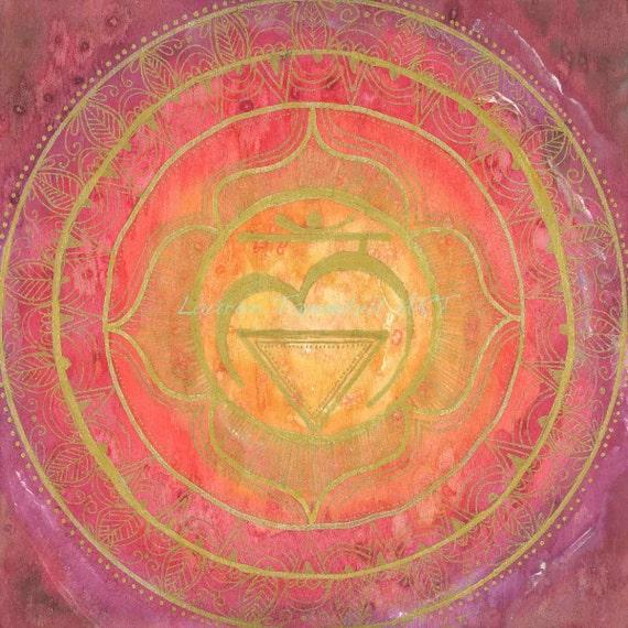 Framed Root Chakra Mandala Metaphysical Yoga Studio Spiritual Art by Lauren Tannehill ART