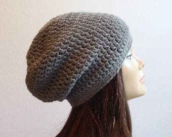 Slouchy Beanie Hat Gray - Crochet Slouch Beanie Womens Grey Beanie Hipster Hat - Gray Slouchy Beanie - Fall Apparel - Vegan Hat