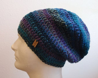 Slouchy Hat, Slouch Beanie, Mens Hat, Womens Hat Teen Blue Purple Lime Green Striped, Winter Slouchy Beanie, Spring Hat, Fashion Accessories