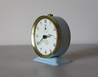 French Vintage Alarm Clock Bayard Mid Century Pale Blue