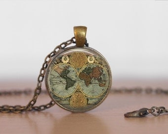 WORLD GLOBE NECKLACE / Antique Map Pendant / Unique Gift for Her / Map Jewelry / Globe / Vintage Map  / brass pendant / gift box