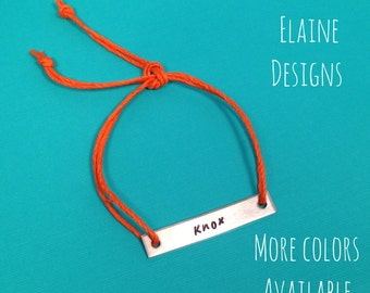 Custom Hand Stamped Aluminum Rectangular Charm with Hemp Cord Bracelet
