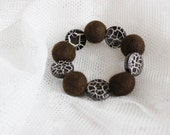 FINAL SALE Hand felted bracelet in dark brown with beads. Chocolate coffee colours. Crackle effect. Felt balls, fiber art